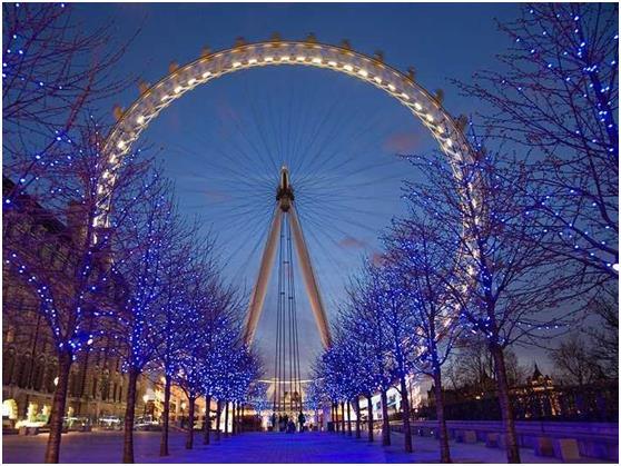 """يبلغ طول """"عين لندن"""", وهي عجلة سياحية ضخمة يركبها السياح لمشاهدة معالم لندن, حوالي 424 مترأ، بما يعادل مساحة 4 ملاعب كرة قدم كب"""