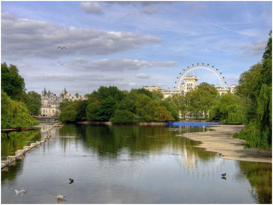 """تغطي المساحات الخضراء أكثر من 40% من إجمالي مساحة لندن, بما يعادل 173 كيلو مترًا مربعًا, أي ما يعادل 3 أضعاف مساحة  منطقة """"منه"""