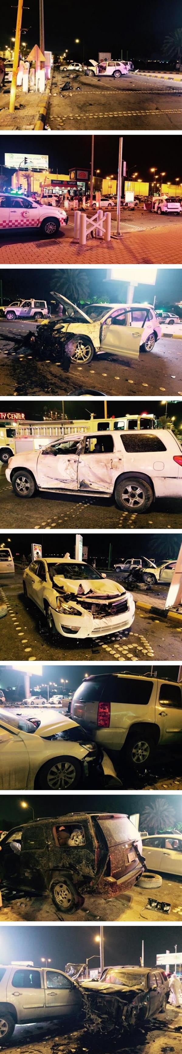 تصادم جماعي لسبع سيارات يصيب ثمانية أشخاص